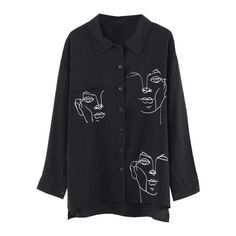 Discount This Month Lychee Spring Autumn Women Blouse Face Print Casual Loose Long Sleeve Shirt Vintage Brlusa Tops Cut Shirts, Printed Shirts, Black And White Blouse, Black White, Chiffon Fabric, Ladies Dress Design, Vintage Tops, Look Fashion, Jeans Fashion