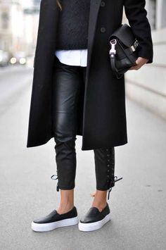 Slip on sneakers -> love the outfit! all black