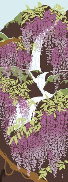 Japanese Tenugui Cotton Fabric, Wisteria Flower, Floral Fabric, Dynamic Design,  Hand Dyed Fabric, , Asian Art Wall, Home Decor, Scarf, h024
