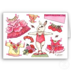 Blank Rose Paper Doll Card