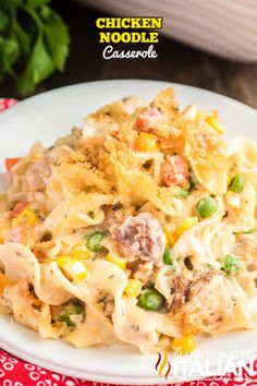 Chicken Noodle Casserole Video Easy Casserole Recipes, Casserole Dishes, Pasta Recipes, Chicken Recipes, Cooking Recipes, Chicken Meals, Pasta Dishes, Food Dishes, Main Dishes