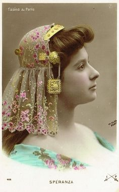 Mlle Spéranza with Folkloric Romantic Headdress by Walery Studio Paris