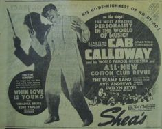 The Hi de Ho blog | May 5, 1937: Cab Calloway at the Shea Theatre, Toronto, CANADA | Blog