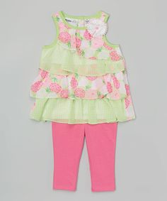 Another great find on #zulily! Green Tiered Tunic & Capri Leggings - Infant, Toddler & Girls #zulilyfinds