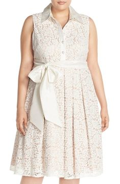 Eliza J Sash Tie Lace Fit & Flare Shirtdress (Plus Size)