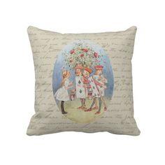 Alice in Wonderland Roses Throw Pillow