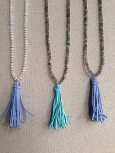 Gemstone and Suede Tassel Necklace by GoldenstrandJewelry on Etsy, $115.00