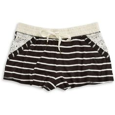 Splendid Striped Lace-Trim Shorts ($46) ❤ liked on Polyvore featuring shorts, pajamas, fall stripe, stripe shorts, splendid shorts, elastic waistband shorts, striped shorts and drawstring shorts