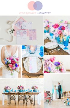 Pantone color of the year 2016 rose quartz and serenity wedding inspiration with a romantic bohemian vibe | Watercolor wedding invitations by Bohemian Mint