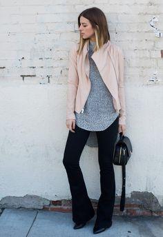 Vince Jacket, Cotton On knit, Paige flare jeans, Ectu bag, Style blogger Michelle Madsen