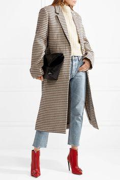 STELLA MCCARTNEY women's attractive Oversized checked wool-blend coat