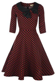 Lindy Bop 'Cassy' Vintage 1950's Parisian Style Three Quarter Sleeve Bow Dress Was: $69.99 Now: $40.99
