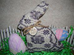 Primitive Vintage Woven Coverlet  Easter Bunny by auntiemeowsprims, $10.99