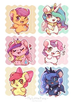 My second batch of Hamster-ified ponies from MLP:FiM, this time with the Cutie Mark Crusaders and the Alicorn Princesses. Ham-ham Ponies 2 : CMC and Princesses Dessin My Little Pony, My Little Pony Comic, My Little Pony Characters, My Little Pony Drawing, My Little Pony Pictures, Mlp My Little Pony, My Little Pony Friendship, M Anime, Anime Chibi