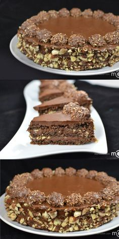Ferrero Rocher cake recipe The fan favorite cake. This cake is always a hit. Torta Ferrero Rocher, Rocher Torte, Ferro Rocher Cake, Ferrero Rocher Cheesecake, Baking Recipes, Cake Recipes, Dessert Recipes, Chocolate Desserts, Cake Chocolate
