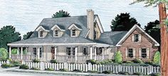 The wrap around porch with open floor plan!  Country   Southern   House Plan 68172