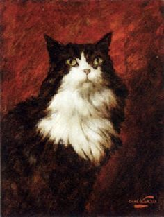 Carl Kahler, Sultan and Red Drape, cat art