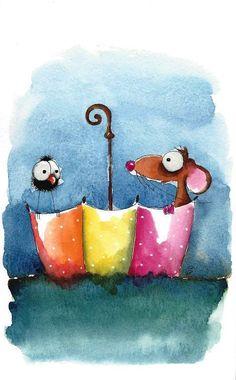 Original watercolor painting whimsical mouse bird crow floating umbrella ocean #IllustrationArt