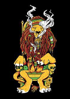 Lion King Blunt T-shirt - 420 Friends Rastafari Art, Dark Art Tattoo, Plant Crafts, King Tattoos, Stoner Art, Trippy, Lion, Arts And Crafts, Friends