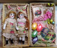 """TwoTiny 2 1/4"""" All Bisque Antique German Bunny Baby dolls in Easter box  