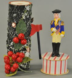 Germany, a well detailed composition George Washington standing on a candy box and cherry tree with an axe and bucket. Patriotic Decorations, Birthday Decorations, George Washington Birthday, Patriotic Symbols, Old Candy, Let Freedom Ring, Postcard Art, Holiday Candy, Candy Containers