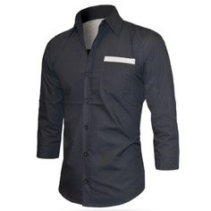 Turn-Down Collar Solid Color Splicing 3/4 Length Sleeve Shirt For Men