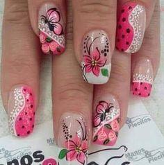 Nail Polish Designs, Nail Art Designs, Beautiful Nail Polish, Nails Now, Red Acrylic Nails, Pretty Nail Designs, Easter Nails, Flower Nails, Nail Tutorials