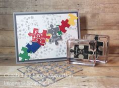 Posts about stampin up puzzle pieces thinlits written by lkvenvert Abc Cards, Kids Cards, Greeting Cards, Puzzle Crafts, Puzzle Art, Graffiti Lettering Fonts, Love You To Pieces, Handmade Birthday Cards, Up Girl