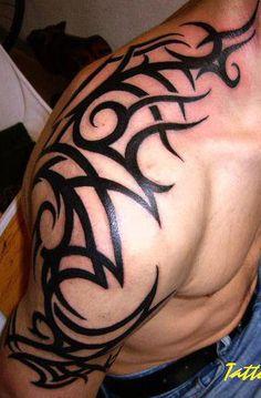 Tribal Tattoo for Men on Upper Shoulder