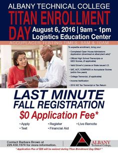 Join us this Saturday, August 6, for Titan Enrollment Day! NO APPLICATION FEE for this day only!