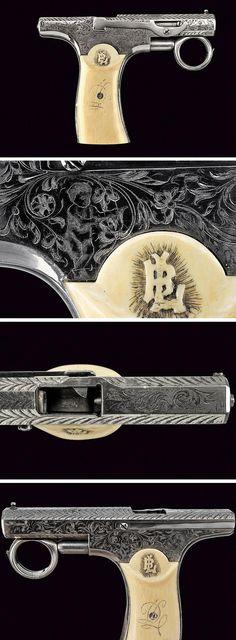A Brun-latrige self loading pistol , dating last quarter of the 19th Century provenance: France