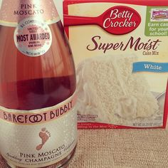 For simple Champagne cupcakes, just replace the water with Sparkling Wine in a cake mix! Super easy and fast!