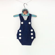 Retro Baby Romper | Sailor Nautical Denim Jumper | Blue Toddler Boy Girl Playsuit | Bubble Romper Jonjons Baby Cake Smash Outfit Overalls