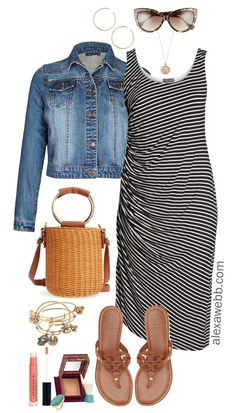 Plus Size Summer Striped Dress Outfit - Plus Size Summer Outfit Idea - Plus Size Fashion for Women - alexawebb.com #alexawebb #plussize