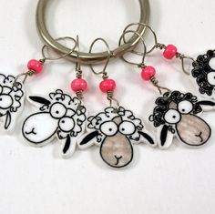 sheep stitch markers whimsical set of 5 by needleclicksEtc on Etsy |Pinned from PinTo for iPad|