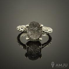 Fantasy organic quartz with rutile (rutilated quartz) one of a kind sterling silver ring handmade