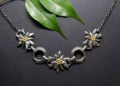 Edelweiss, Pendant Necklace, Jewellery, Female, Necklaces, Dirndl, Neck Chain, Silver, Nature