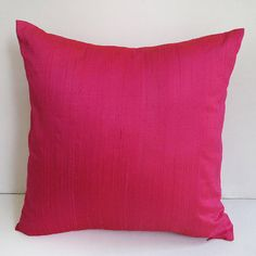 Hot pink dupioni silk pillow cover silk 22inch throw pillow