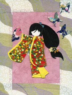 This princess is dressed in a lovely pink patterned kimono with purple/white butterflies along a light-coloured background. The scene is framed neatly by black-and-gold washi, and securely mounted ...