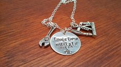 Handstamped Oil Rig oilfield necklace by ByalittlebitofFaith, $28.00