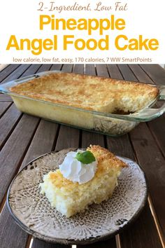 Low calorie recipes 559431584965602510 - This easy low fat, low calorie Weight Watchers Pineapple Angel Food Cake stirs together in minutes – only 170 calories and 7 WW Freestyle SmartPoints! Low Calorie Desserts, Ww Desserts, Weight Watchers Desserts, No Calorie Foods, Low Calorie Recipes, Delicious Desserts, Weight Watchers Cake, Summer Desserts, Cake Mix Recipes