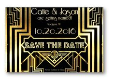 What a fun art deco inspired theme. Feel like a movie star and see how the red carpet will lead the leading lady straight to the alter!!! Get your wedding invitations and printable accessories here...