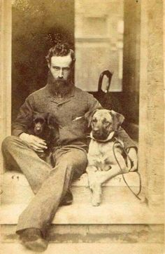 Vintage Men: The Handsome Hipster with Dogs Vintage Pictures, Old Pictures, Old Time Photos, Charles Perrault, Man And Dog, Vintage Dog, Vintage Hipster, Dog Photography, 1800s Photography