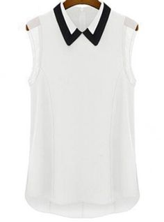 White Lapel Sleeveless Slim Chiffon Blouse