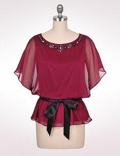 Belted Chiffon Top | Dressbarn