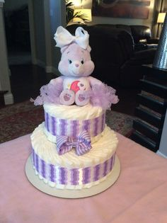 Purple Care Bear Diaper Cake by Texastreasures199 on Etsy