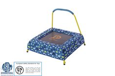 "30"" x 30"" Square Toddler/Kids Mini-Trampoline with Safety Pad & Handlebar"