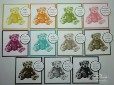 Baby Bear Rainbow of Colors by geobeck - Cards and Paper Crafts at Splitcoaststampers Bear Card, Handmade Birthday Cards, Handmade Cards, New Baby Cards, Stamping Up, Rubber Stamping, Heartfelt Creations, Tampons, Stampin Up Catalog