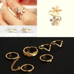 Le Perla Combo Pack of 2 Sets Opal Flower with Knuckle Ring Set