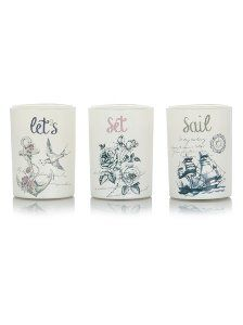 George Home 'Let's Set Sail' Votive Candles - Set of 3 Candle Set, Votive Candles, Candle Holders, Set Sail, Asda, Baby Toys, Home Accessories, Sailing, How To Draw Hands